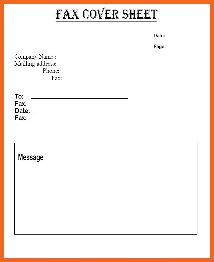 Pdf Fax Cover Sheet Template